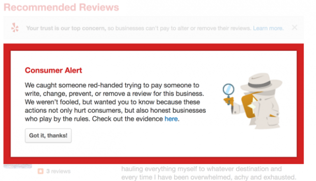 Yelp Consumer Alerts Program - Consumer Alert Example
