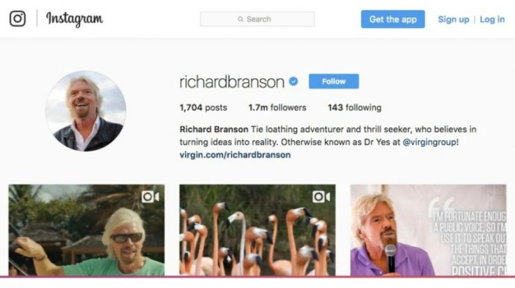 50 Most Creative Instagram Bio Examples for Business Users - Richard Branson