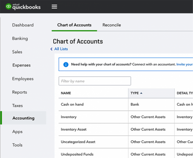 "QuickBooks Online Navigation Changes - ""Chart of Accounts"" and ""Reconcile"" are now found under the new ""Accounting"" tab"
