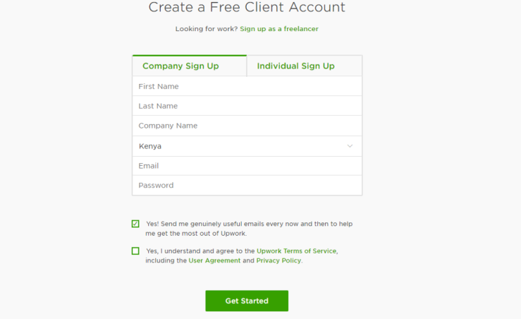 How to Post a Job on Upwork - Create an Account