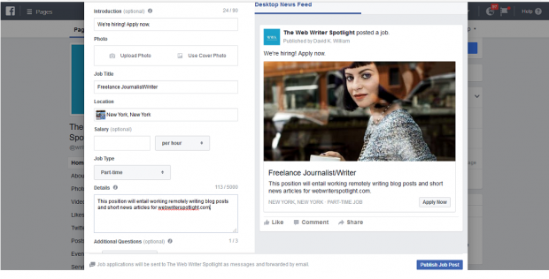 How to Post a Job on Facebook - Step 2: Add Details about the Job Opening
