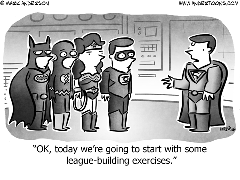 Superheroes Business Cartoon